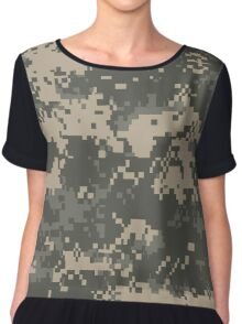 Army Pixel Camo Pattern Chiffon Top