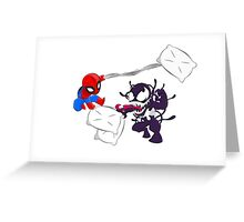 Spiderman and Venom have a Pillow Fight! Greeting Card