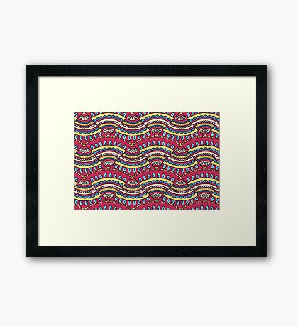 Colorful doodle ornament Background. Bright seamless abstract pizza pattern. Framed Print