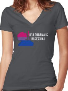 Leia Organa is Bisexual (White) Women's Fitted V-Neck T-Shirt