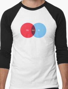 You + Me = Rad. Venn Diagram Love Men's Baseball ¾ T-Shirt
