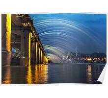 Banpo Bridge Fountain Show at night Poster