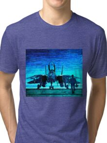 moonlight mission-an f14 tomcat fighter pilot walks to his plane Tri-blend T-Shirt