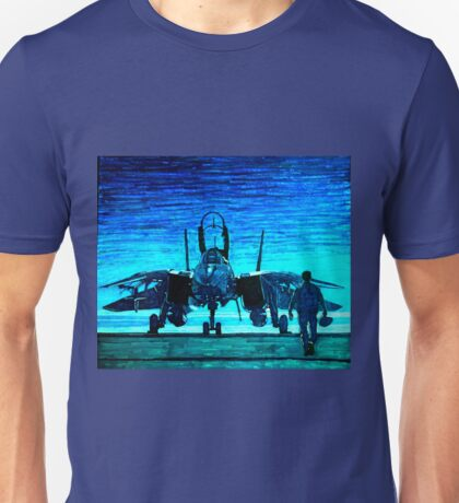 moonlight mission-an f14 tomcat fighter pilot walks to his plane Unisex T-Shirt