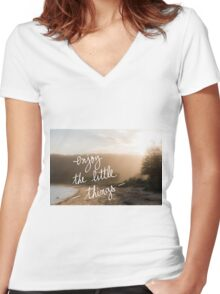 Enjoy The Little Things message Women's Fitted V-Neck T-Shirt