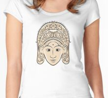 Wooden mask of indonesian dancer woman, sketch Women's Fitted Scoop T-Shirt