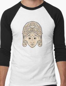 Wooden mask of indonesian dancer woman, sketch Men's Baseball ¾ T-Shirt