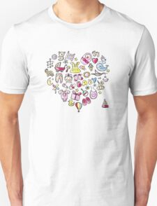 Heart shape design with toys for baby girl Unisex T-Shirt