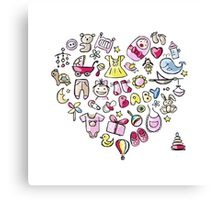 Heart shape design with toys for baby girl Canvas Print