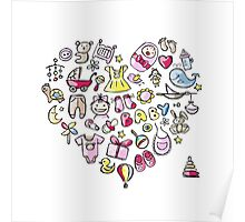 Heart shape design with toys for baby girl Poster