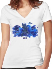 Equestria Elements - The Moon Women's Fitted V-Neck T-Shirt