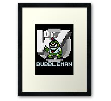 Bubbleman with text (Blue) Framed Print