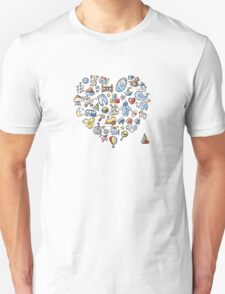 Heart shape design with toys for baby boy Unisex T-Shirt