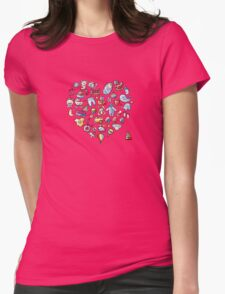 Heart shape design with toys for baby boy Womens Fitted T-Shirt