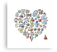 Heart shape design with toys for baby boy Canvas Print