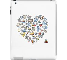 Heart shape design with toys for baby boy iPad Case/Skin
