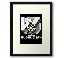 Bubbleman with text (White) Framed Print