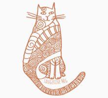 Rufus Cat (orange print) One Piece - Short Sleeve
