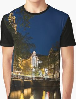 Magical Amsterdam Night - Westerkerk Through the Trees Graphic T-Shirt