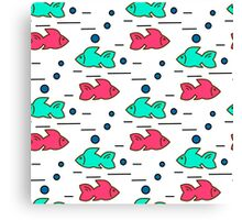 seamless pattern with fishes Canvas Print