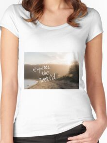 Explore The World message Women's Fitted Scoop T-Shirt