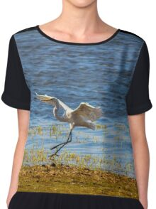 Egret Bird Chiffon Top