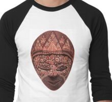 Traditional indonesian mask on a white background Men's Baseball ¾ T-Shirt