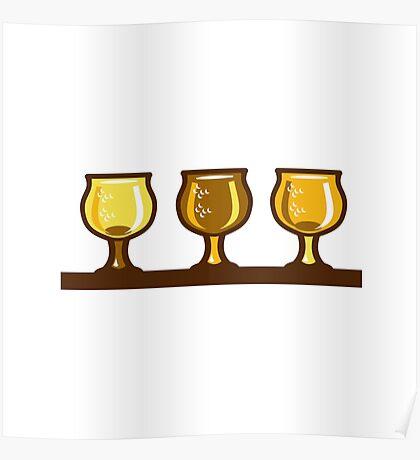 Beer Flight Glass Retro Poster