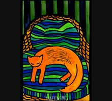 Orange Cat in the Big Chair Womens Fitted T-Shirt