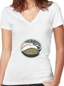 Golden Plover Looking Up Tree Oval Tribal Art Women's Fitted V-Neck T-Shirt