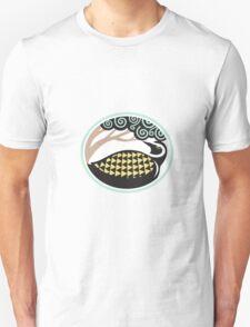 Golden Plover Looking Up Tree Oval Tribal Art Unisex T-Shirt