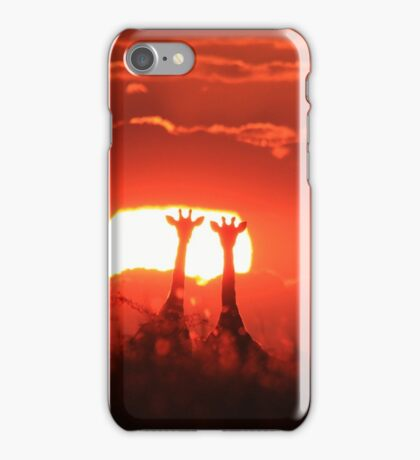Giraffe - Sunset Love of Red - African Wildlife Background iPhone Case/Skin