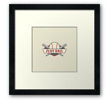 Play Ball Retro Vintage Baseball Framed Print
