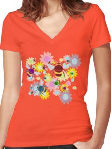 Bees & Flowers Women's Fitted V-Neck T-Shirt