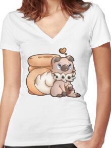 Rockruff Doughnuts Women's Fitted V-Neck T-Shirt