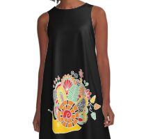 Cute Snail with Flowers & Swirls on Dark Background A-Line Dress