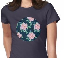 Simple Pink Rose Oil Painting Pattern Womens Fitted T-Shirt