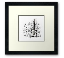 Art sketch of guitar design Framed Print