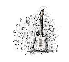 Art sketch of guitar design Photographic Print