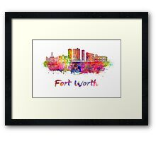 Fort Worth skyline in watercolor Framed Print