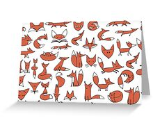 Cute foxes seamless pattern Greeting Card