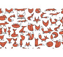 Cute foxes seamless pattern Photographic Print