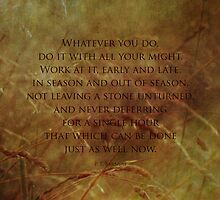 Whatever you do, do it with all your might by vigor