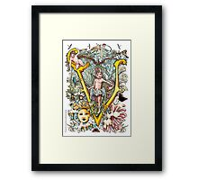 """The Illustrated Alphabet Capital  V  """"Getting personal"""" Framed Print"""
