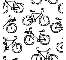 Bicycle sketch, seamless pattern Photographic Print