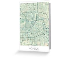 Houston Map Blue Vintage Greeting Card