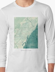 Barcelona Map Blue Vintage Long Sleeve T-Shirt