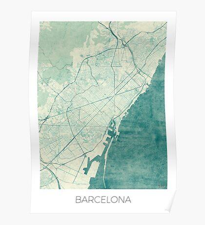 Barcelona Map Blue Vintage Poster