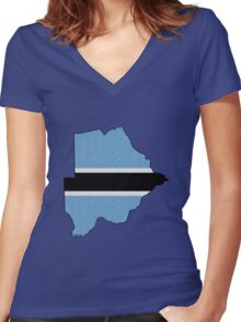 Botswana Map With Flag Women's Fitted V-Neck T-Shirt