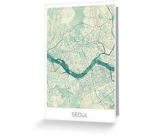 Seoul Map Blue Vintage Greeting Card